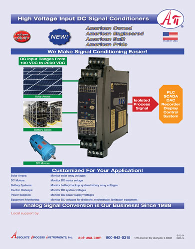 API - High Voltage DC Input Signal Conditioner