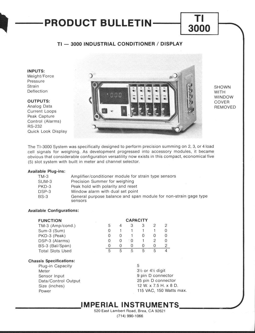TI-3000 Strain Gage Signal Conditioner