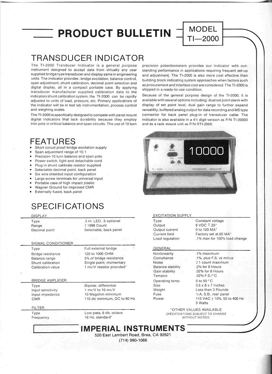 TI-2000 Strain Gage Signal Conditioner
