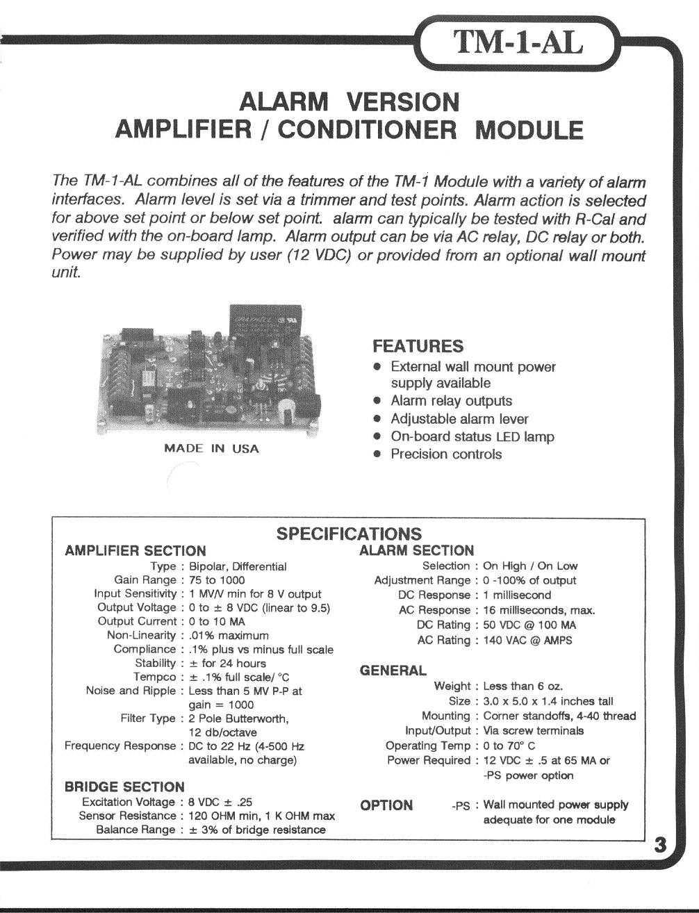 Alarm Strain Gage Signal Conditioner