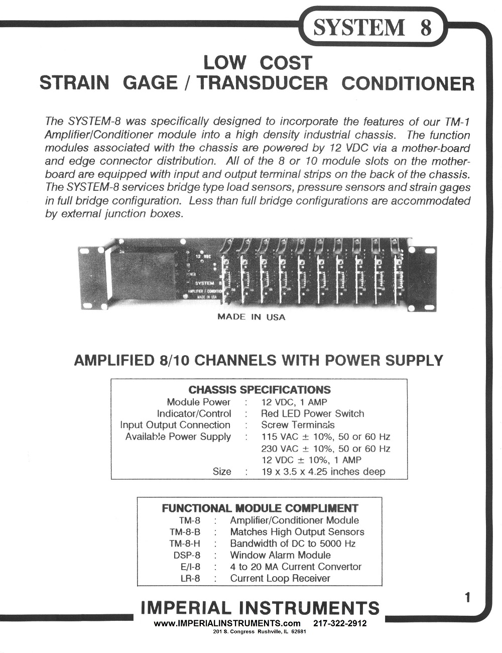 Chassis Strain Gage Signal Conditioner