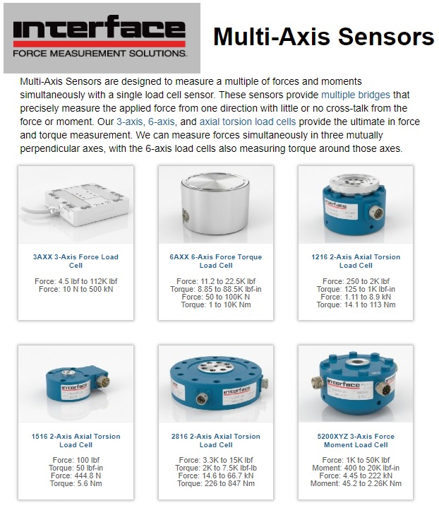 Interface Multi-Axis Load Cells & Torque Sensors